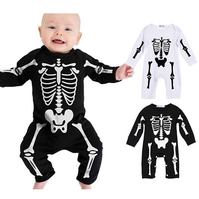 Baby Girl Halloween Costume Skeleton Bodysuit Jumpsuit Outfit PLAYSUIT