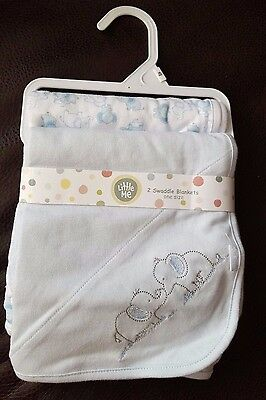 Set of Little Me Blue Elephant Baby Swaddle Security Blankets Blue White New