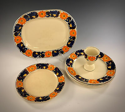 """ADAMS Royal Ivory TITIANWARE """"Brocade"""" Pattern Misc Pieces 7 Items"""