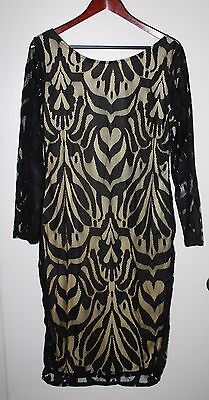Women's Black Lace Dress with Nude Lining Size XL