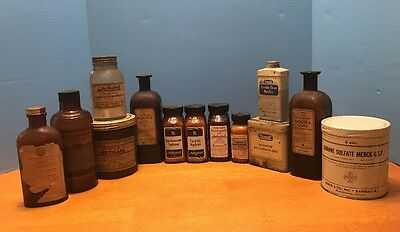 Lot Antique Vtg Apothecary Pharmaceutical Bottle Can Eli Lily Merck Poison Squil