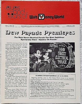 Rare June 1977 Disney Wdw Eyes & Ears Cast Newsletter Electrical Parade Premiere