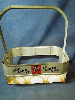 Vintage Metal 7 Up Soda 6 Bottle Carrier You Like It - It Likes You