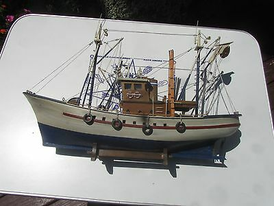 """WOOD FISHING BOAT MODEL 22"""" LONG with GREAT DETAIL"""