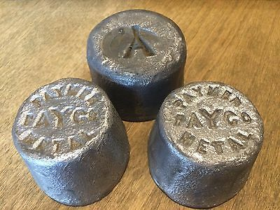 (12 LB+) 3 Antique 1890s PAYMER PAY CO+ Molded Lead Metal Ingot Weight BRONX NY