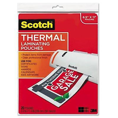 Scotch Thermal Laminating Pouches, 8.9 x 11.4-Inches, 3 mil thick, 20-Pack (TP38