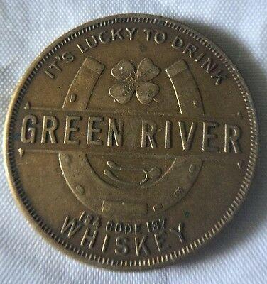 Vintage Green River Whiskey Lucky Coin - Horseshoe