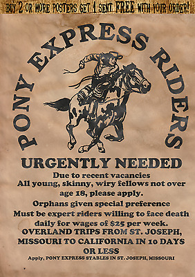 Pony Express Poster Old West Vintage Mail Western Horse Wanted  Mail Stagecoach