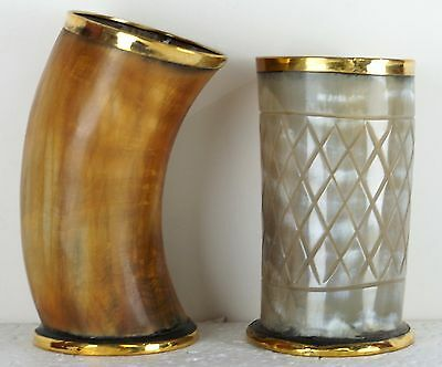 OX Norwegian Viking drinking horn & horn stand for mead beer