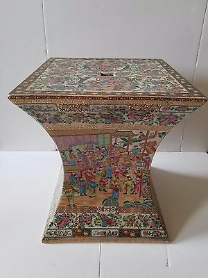 Mid 20th Century Chinese Rose Medallion Yong Tang Hall Ceramic Garden Bench Stoo