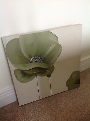 """Green Floral Canvas Wall Art Picture 20"""" X 20"""" Part Hand Painted GREAT BARGAIN"""