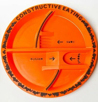 CONSTRUCTIVE EATING CONSTRUCTION THEMED ORANGE PLATE for KIDS made in USA NEW