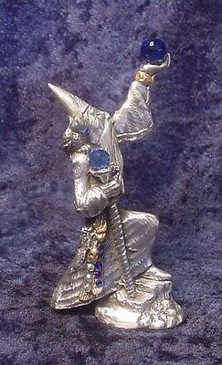 Pewter WIZARD on Rock with Golden Staff & Vivid Blue Crystal Fireballs