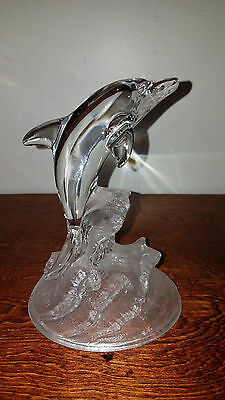 Cristal d'Arques Lead Crystal Dolphin in Waves Clear Glass Figurine France