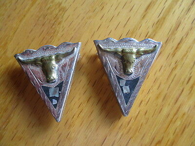 Fancy Silver Tone Western Collar Tips with Golden Long Horn Steer & MOP