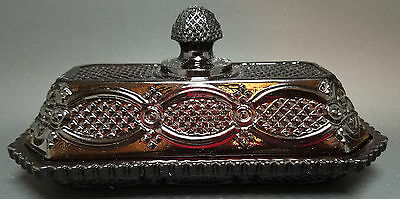 Avon 1876 Cape Cod Ruby Red Glass Covered Butter Dish with Original Box