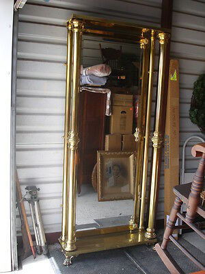 Tall Antique Full Length Mirror Brass Frame Beveled Glass Very Heavy Paw Feet