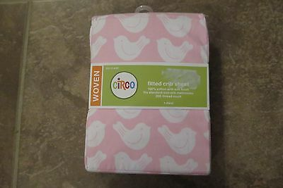 Circo Baby Girls 100% Cotton Pink White Birds Fitted Crib Sheet New In Package