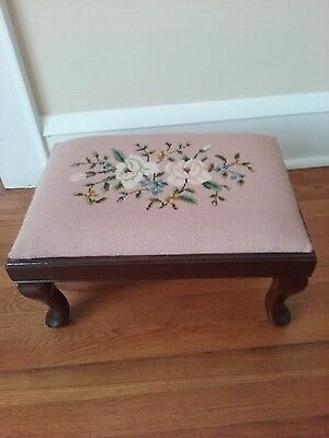 Vintage Footstool with Floral Needlepoint Top
