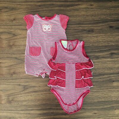 000 2x (two) Baby Girl Summer Jumpsuits | Rompersuits | (newborn 0-3 Months)