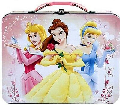 Princess Belle Aurora Carry All Square Tin Stationery Lunch Box Lunchbox - Pink