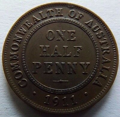 1911 Australia 1/2 Penny! Vf-Xf! 1St Year Of Issue!