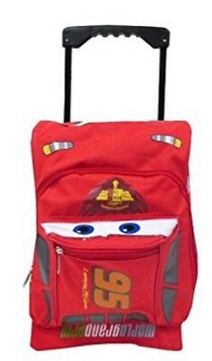 "Cars Lightning McQueen Small Toddler 12"" Cloth Backpack Book Bag Pack W Wheels"