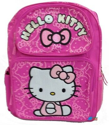 """Hello Kitty Large 16"""" Cloth Backpack Book Bag Pack - Pink Faces"""