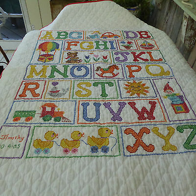 Vintage Cotton Embroidered Baby Quilt Cross Stitch Alphabet Toys Name Date 54x34