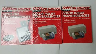 New! 100 Office Depot Color Inkjet Transparencies + 60 Write On Transparencies