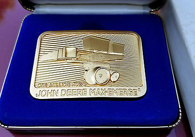 1984 John Deere Moline Illinois 24k Gold Plated Belt Buckle Max Emerge W Case