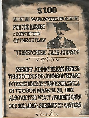 Old West Wanted Poster Tombstone Ok Corral Earps Holliday Ringo Clanton Outlaw