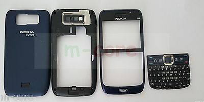 Nokia E63 - FULL HOUSING front fascia panel, buttons,back cover -NAVY BL GENUINE