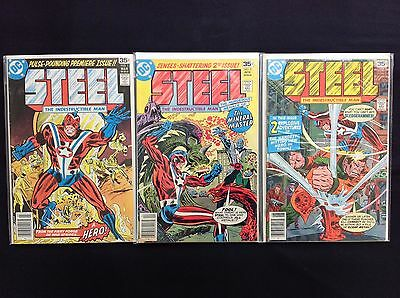 STEEL THE INDESTRUCTIBLE MAN Lot of 3 DC Comic Books - Run #1 2 3!