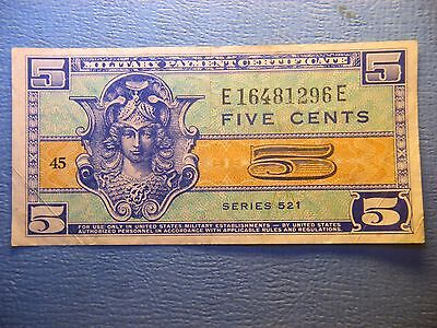 Military Payment Certificate - 5 Cents - Series 521