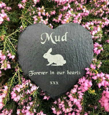 Personalised Slate Heart Pet Memorial Grave Marker Headstone Plaque Rabbit
