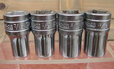 4 Older Snap On Sockets 6 Point 1/2 Inch Drive 7/16-1/2-9/16-19/32 Nice !