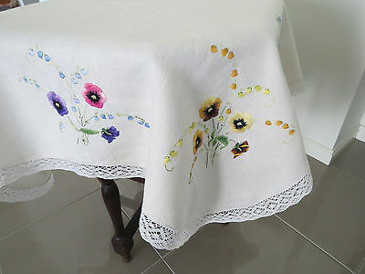 Gorgeous Embroidered **pansies** Table Cloth - Superb Condition