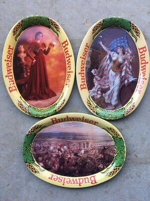 Lot of 3 Mini Budweiser Beer Advertising Metal Trays ~ Vtg Ad Art ~ Bar Decor