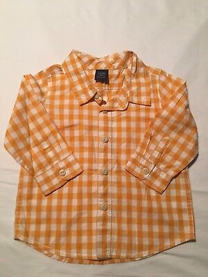 NWT Boys Baby Gap Yellow Check Collared Button Down Shirt, Size 12-18 Months