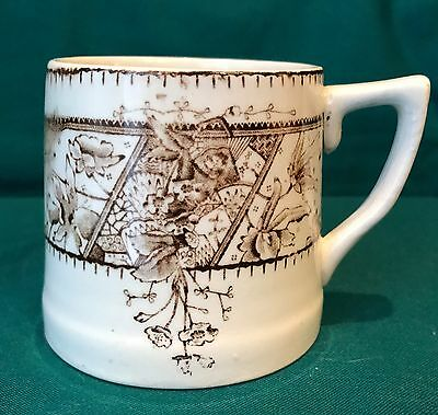 Antique Transferware Mug - Brown & White