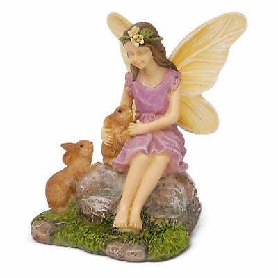 Miniature Dollhouse FAIRY GARDEN Summer Friends (fairy with rabbits)