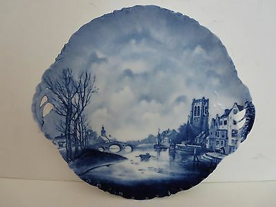 Blue Delft Handled Serving Plate Platter - RC Germany Versailles - River Boats