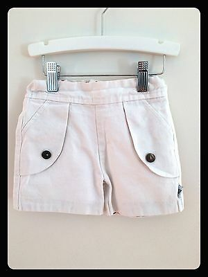 Kids shorts, white cotton, made by Daisy & Moose, size 1-2