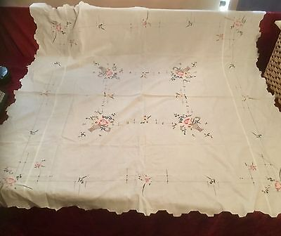 Vintage Embroided Tablecloth