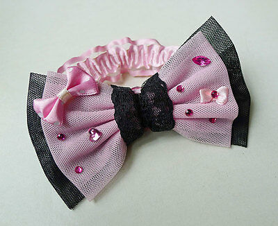 Angelic Pretty Pink & Black Lolita Bow Bracelet Kawaii Harajuku Cosplay Decora