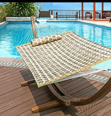 """LazyDaze Hammocks 55"""" Double Quilted Fabric Hammock Swing with Pillow"""