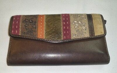 Fossil Multi Color Stripe Brown Leather Trifold Clutch Wallet Checkbook Organizr