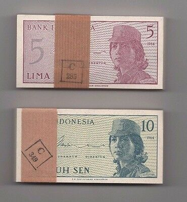 Indonesia 5 10 Sen Bundle 1964 P-91 92 Bundles 2 x 100 Banknotes Currency Money