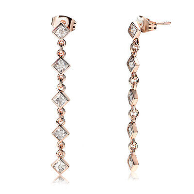 Stunning-New-18k-Rose-Gold-Plated-Women Princess Cut CZ Drop-Dangle-Earrings
